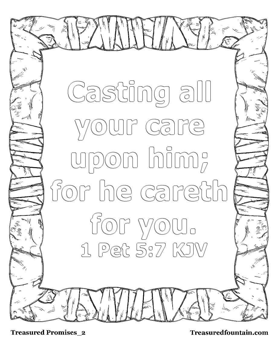 kjv bible verse coloring pages | 1 Peter 5:7 – Treasured Fountain